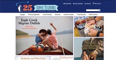 Travel Essentials website product page for Travel Accessories