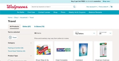 Walgreens website product page for Travel Accessories