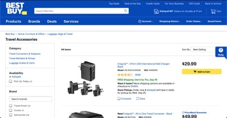 Best Buy website product page for Travel Accessories