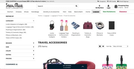 Stein Mart website product page for Travel Accessories