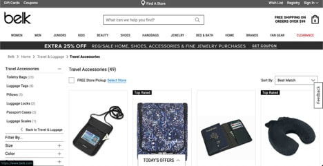 Belk website product page for Travel Accessories