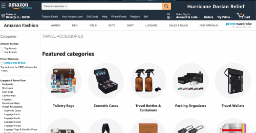 Amazon website product page for Travel Accessories