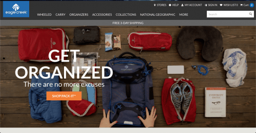 Eagle Creek website product page for Travel Accessories