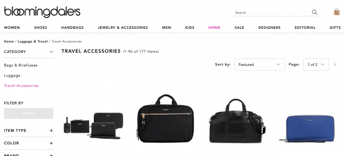 Bloomingdale's website product page for Travel Accessories