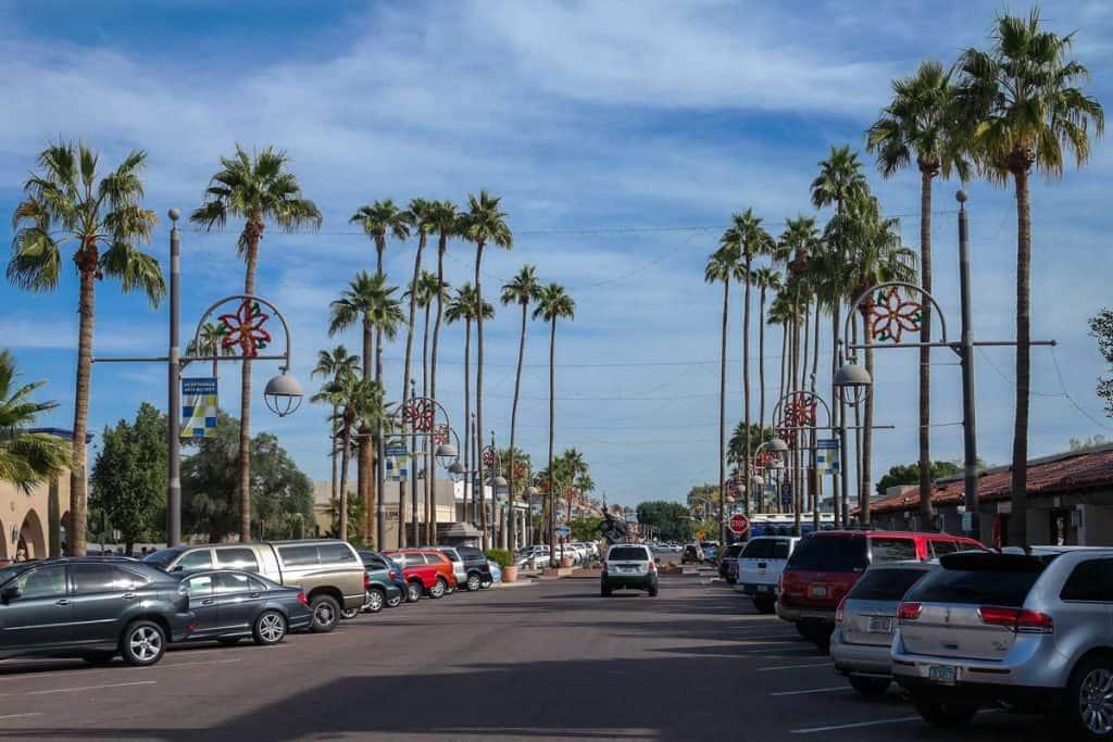 Main Street with palm on Scottsdale, Arizona