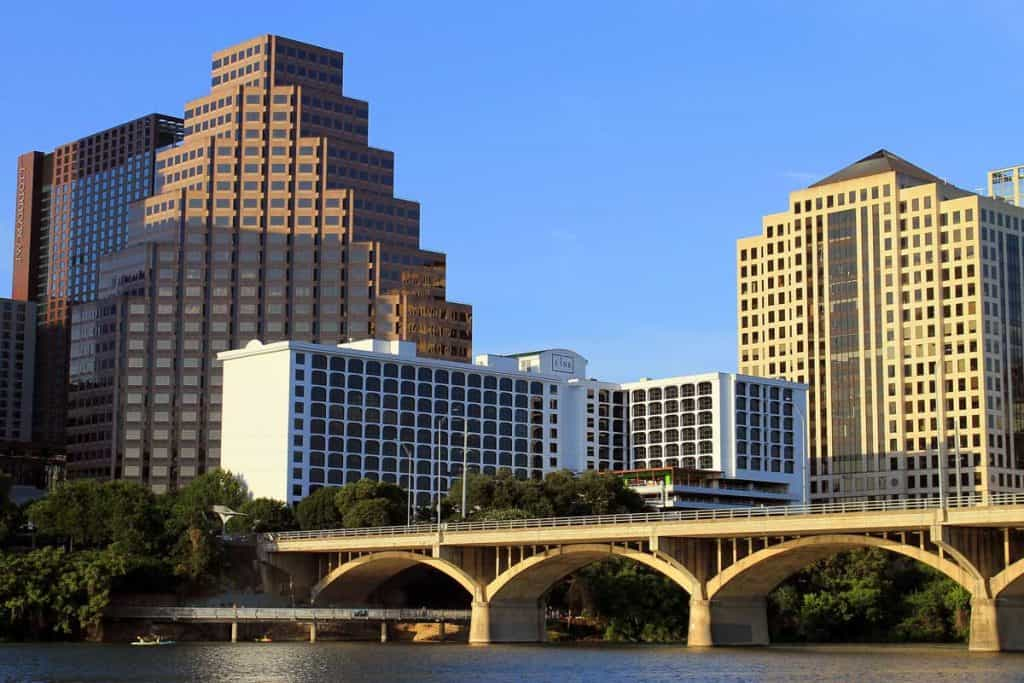 Buildings hit by early sunlight in Austin, Texas