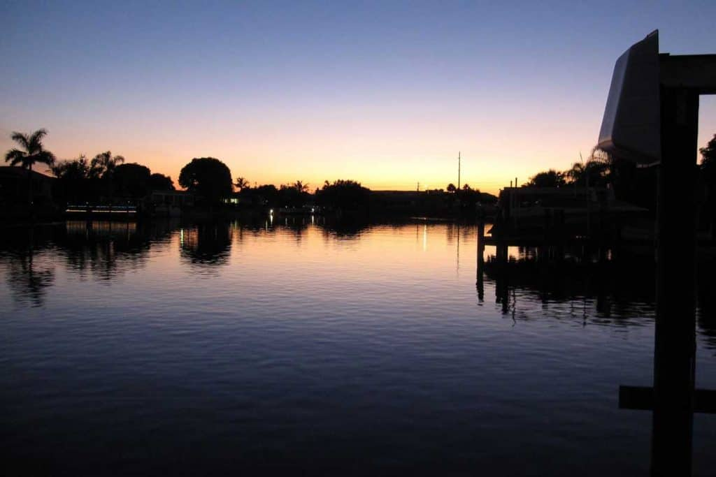 Cape Coral canal at dusk