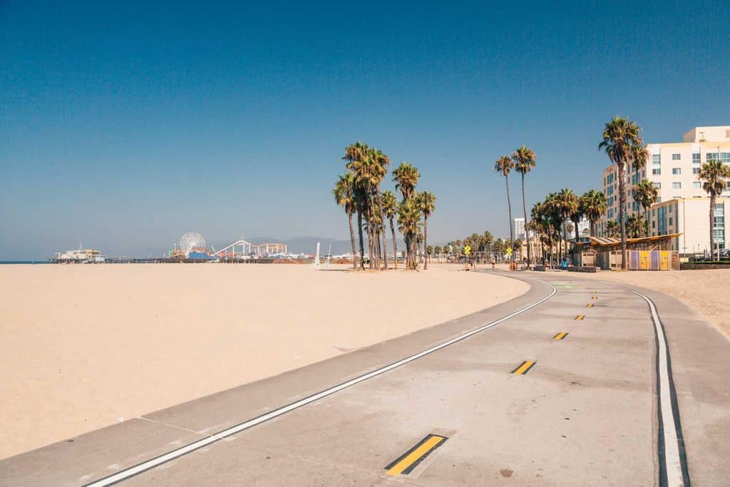 Bike lane down the Venice Beach in Los Angeles
