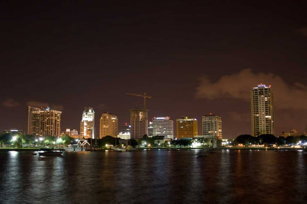 Panoramic night view of St. Petersburg, Florida
