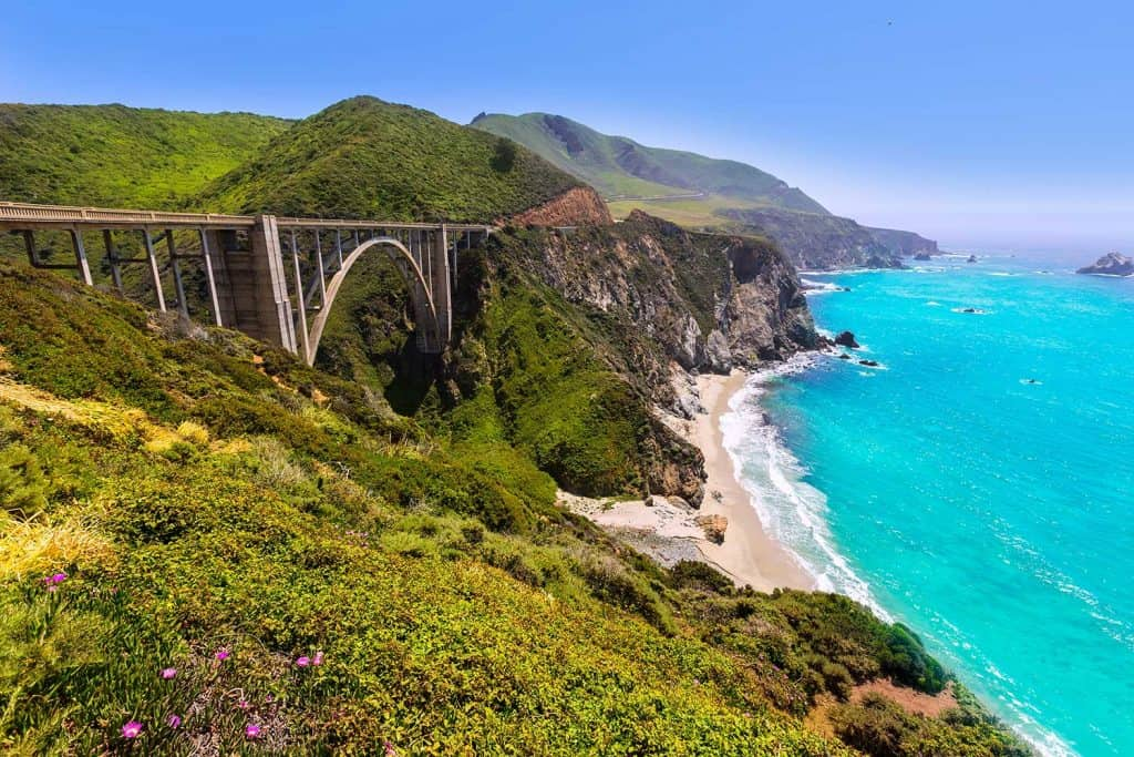 California Bixby Bridge in Big Sur in Monterey County along State Route
