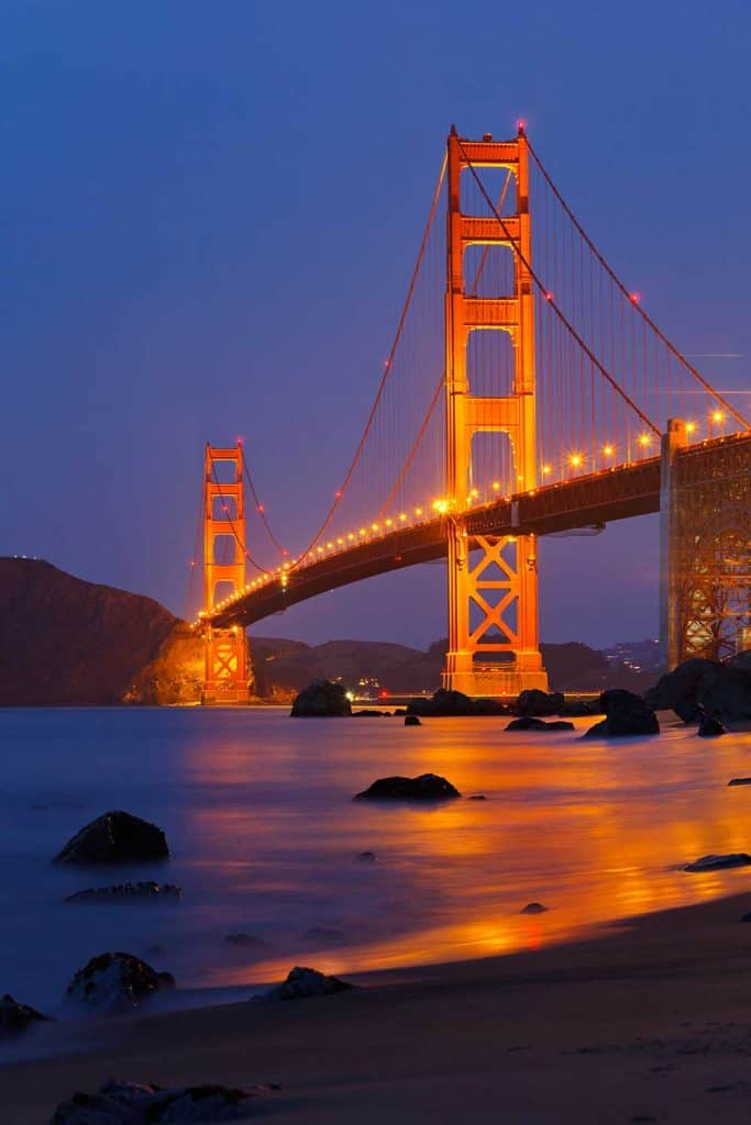 Golden Gate bridge shortly after sunset