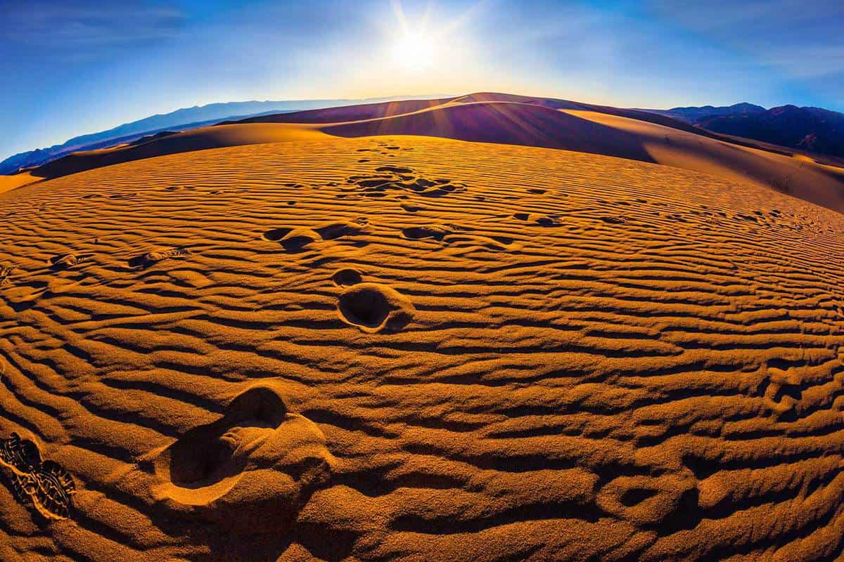 Magnificent sandy waves on dunes early morning in Death Valley