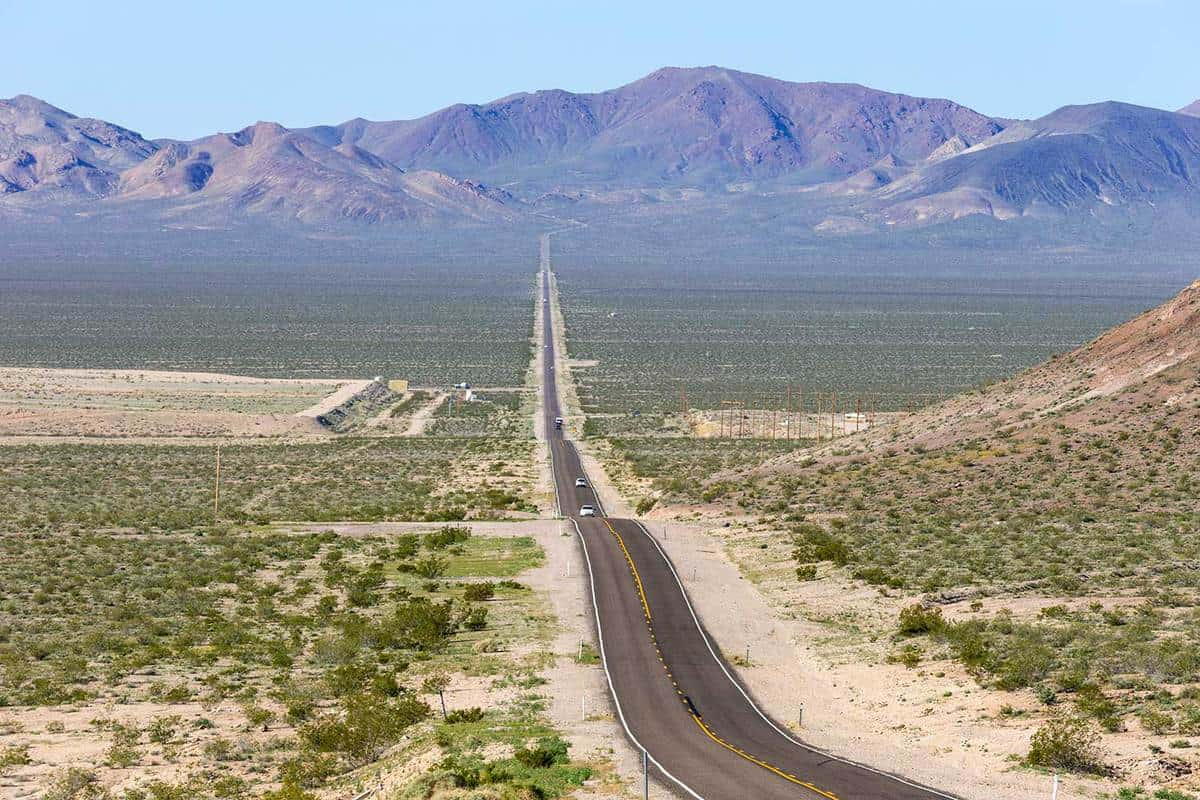 Panoramic view of State Route 374 runing from Beatty Nevada to Death Valley