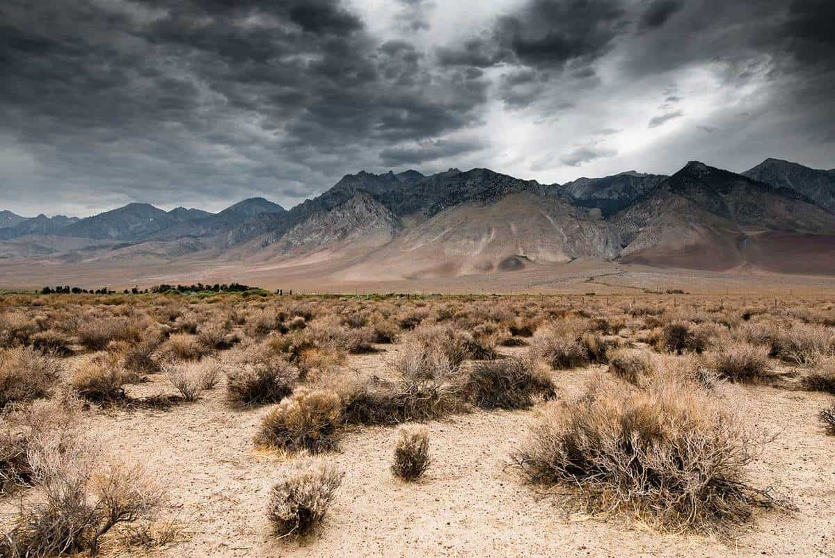 Panoramic view of dark clouds in Death Valley National Park