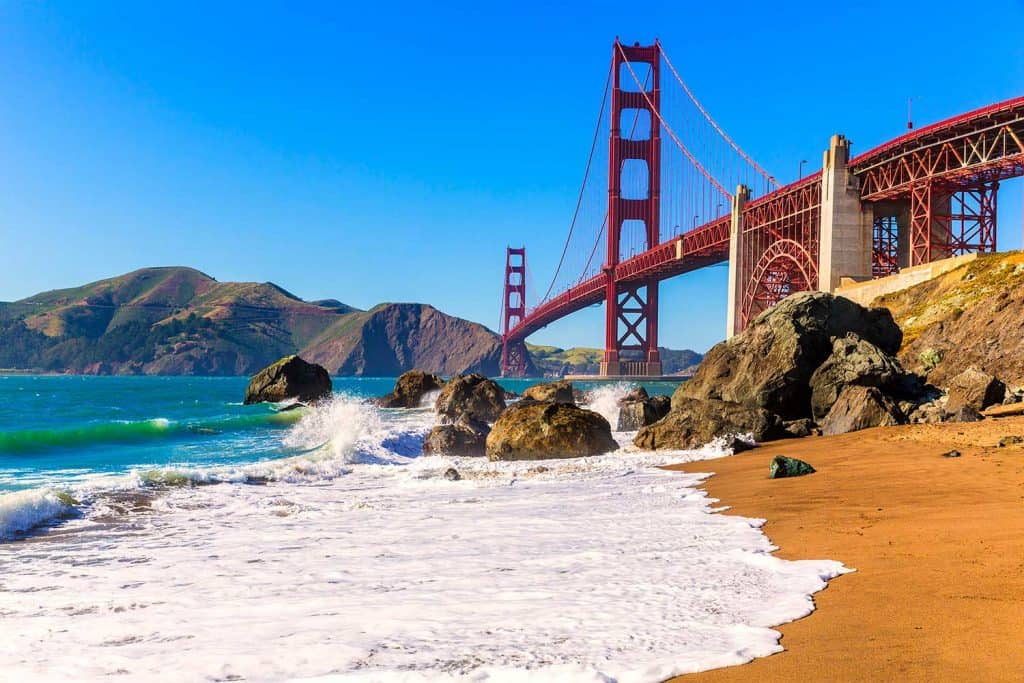 San Francisco Golden Gate Bridge from Marshall beach in California