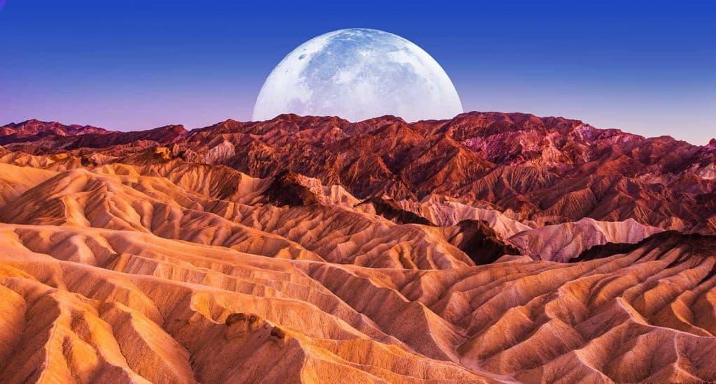 Scenic night in Death Valley National Park Badlands Sandstones