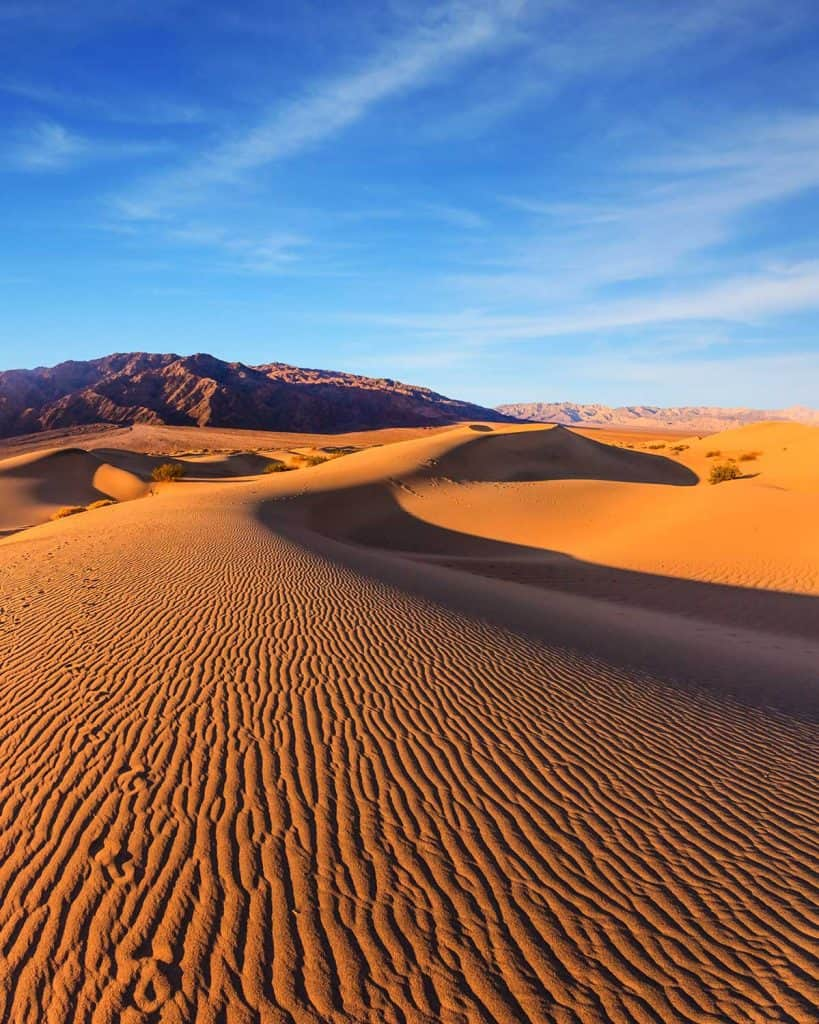 Sunrise in the desert of Mesquite Flat Death Valley