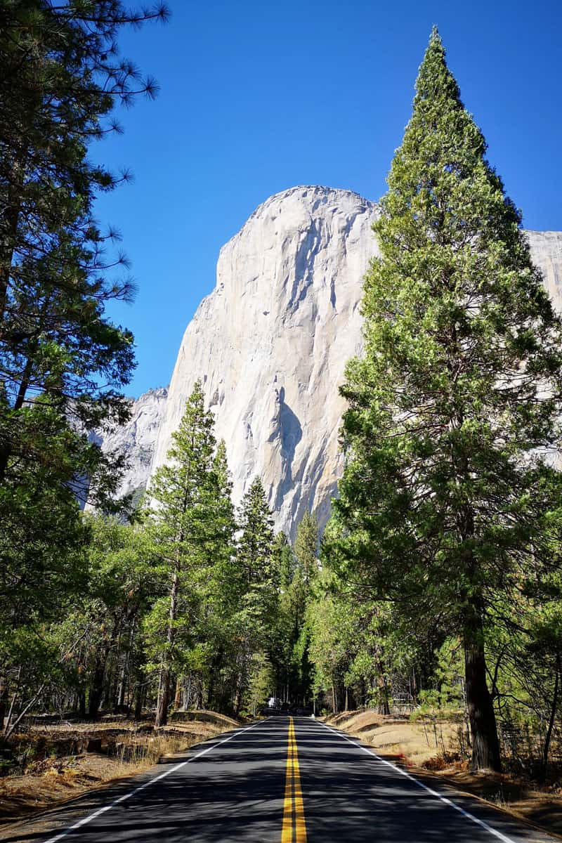 View-of-El-Capitan-from-empty-road-in-Yosemite-National-Park.-California.-USA