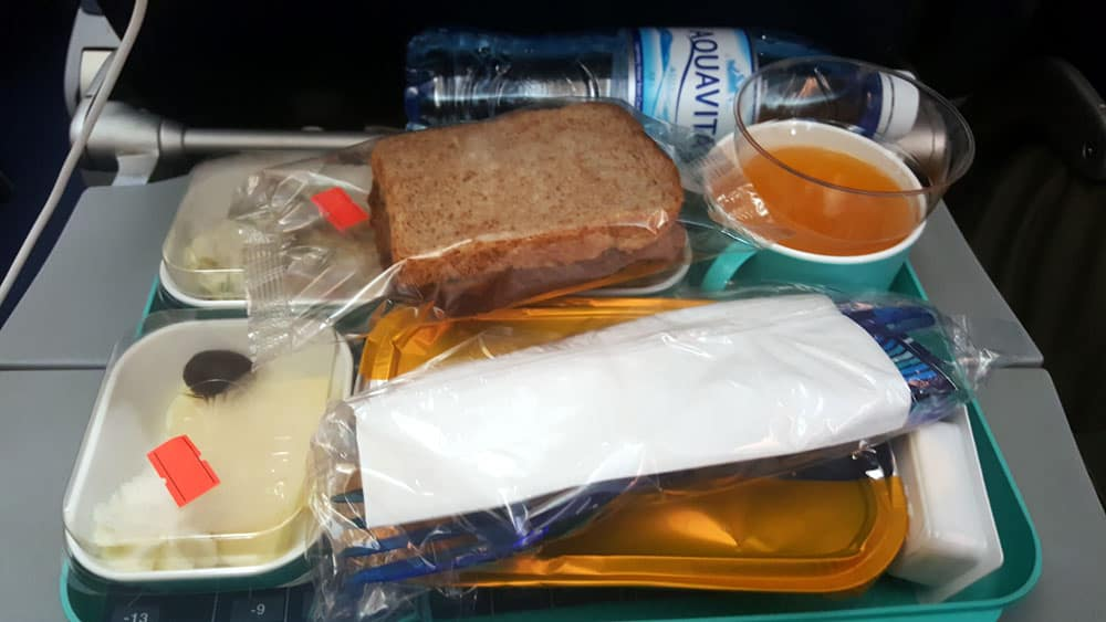hot meal served on airplane