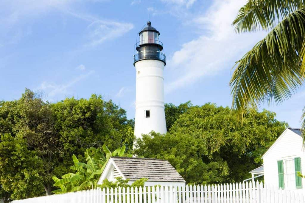 Key west lighthouse painted white