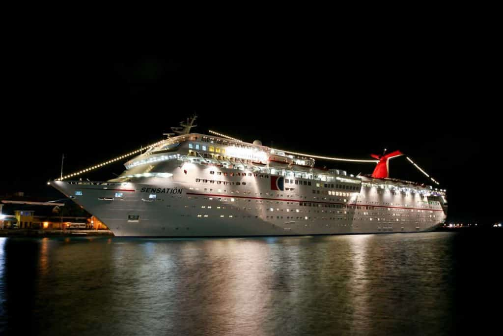 Carnival Cruise ship dock at night