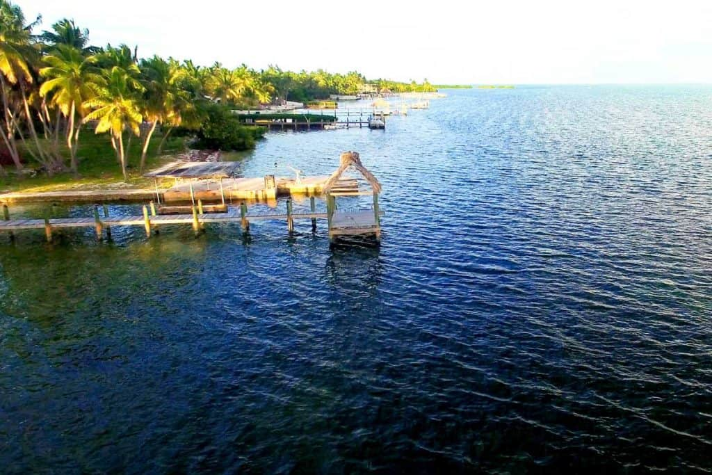Aerial shot of Islamorada Pier and beach