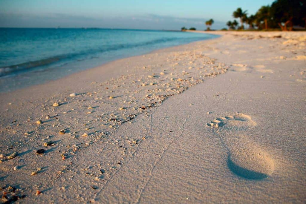 Footprints in the sand at Sombrero beach, Florida