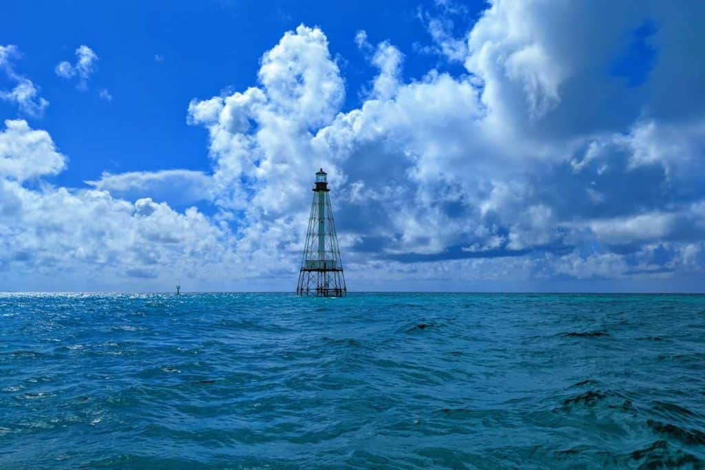 Alligator Reef lighthouse in the ocean