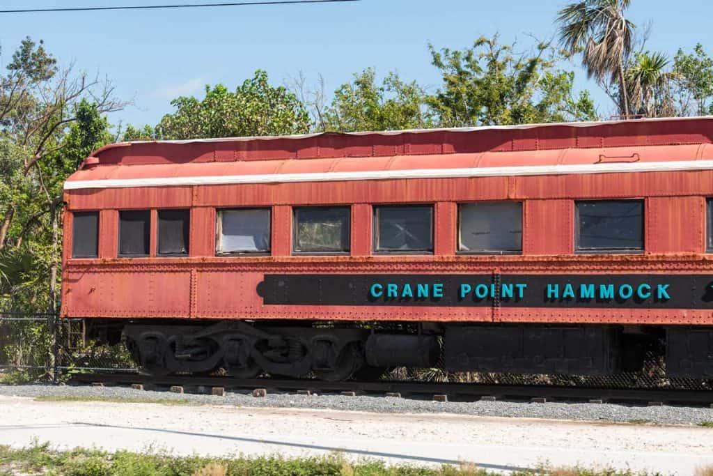 Color orange train in Crane Point Museum & Nature Center