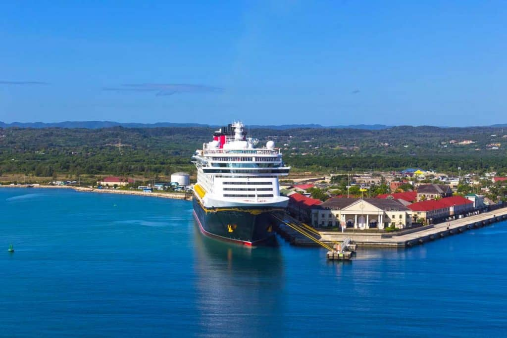 Disney Cruise line at docking bay ready for departure