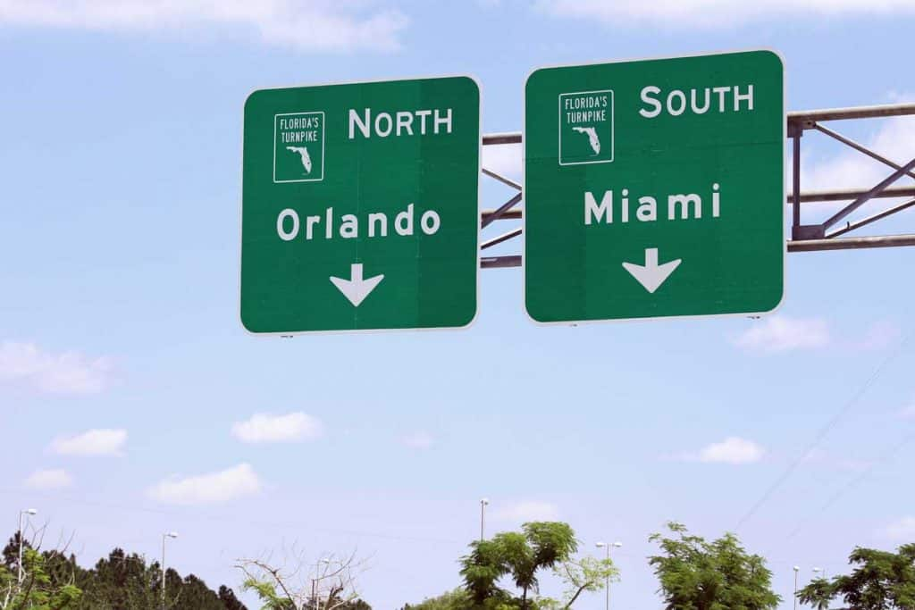Road sign of Miami and Orlando Florida