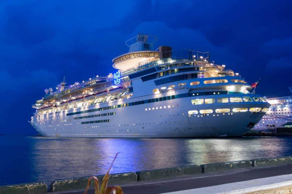 Royal Caribbean Cruise liner at docking bay during night