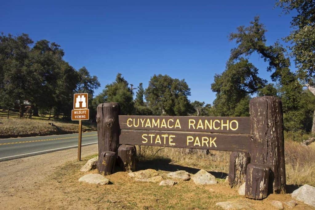 Cuyamaca State Park entrance sign