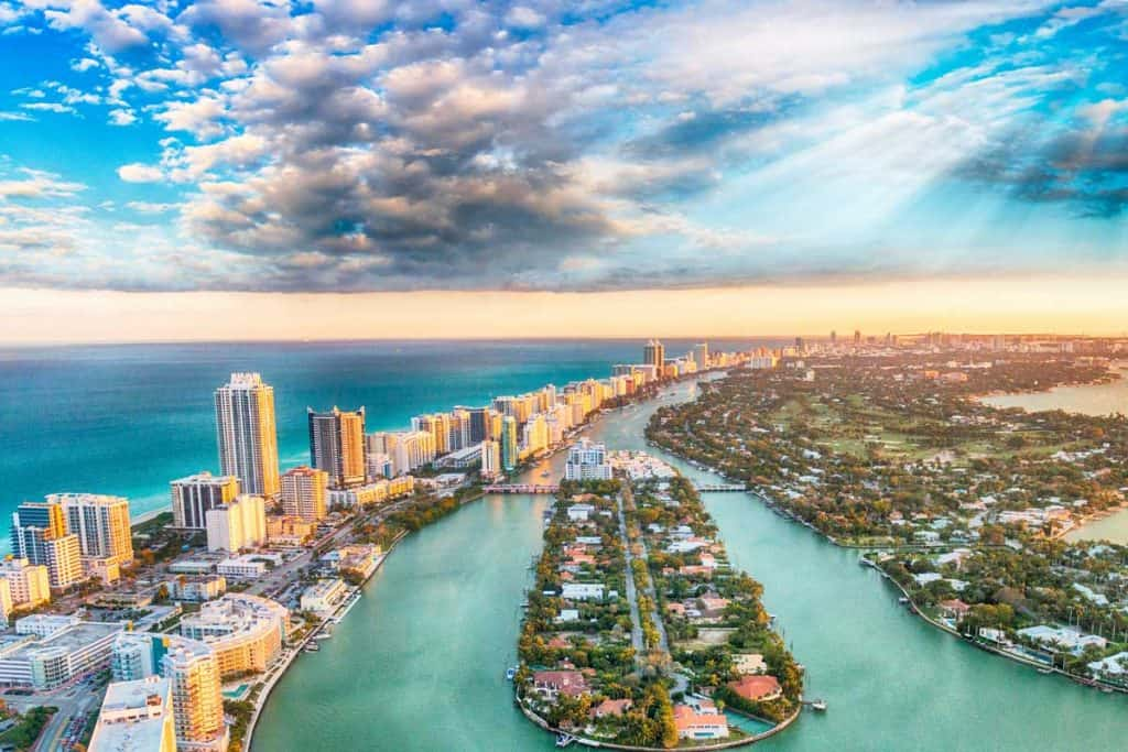 Aerial shot of the beautiful Miami, Florida