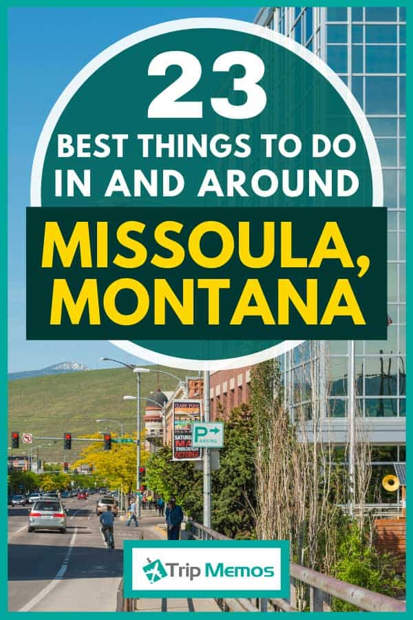Downtown area of Missoula, Montana lined with business and historic buildings