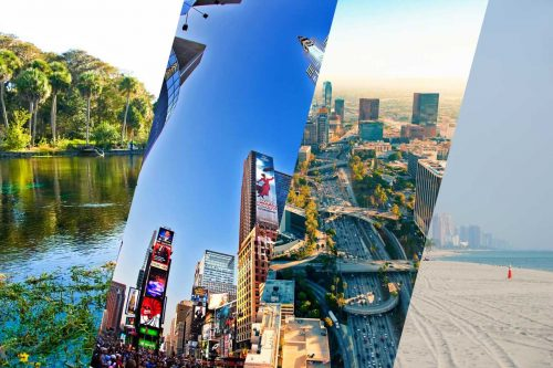 NIagara Falls, Los Angelos City, New York City, and Silver Springs Florida Collage pictur