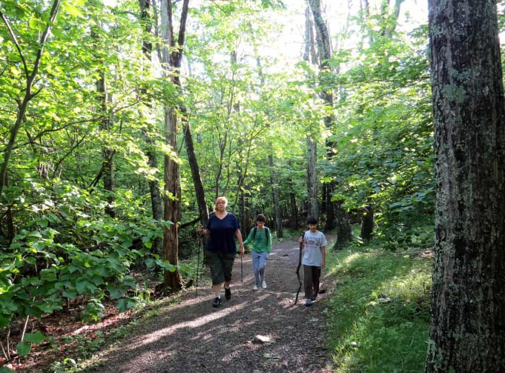 Mother walking along with sons on the Appalachian mountain trails
