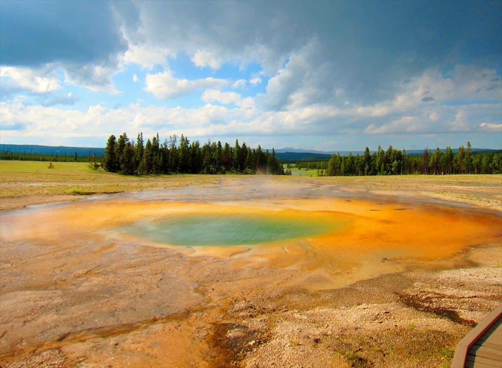 Hot spring caused by a hot surging lava beneath at Yellowstone National Park