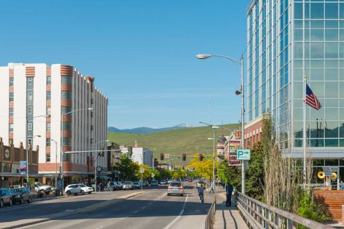 The downtown area of Missoula, Montana lined with business and historic buildings, 23 Best Things To Do In And Around Missoula, Montana
