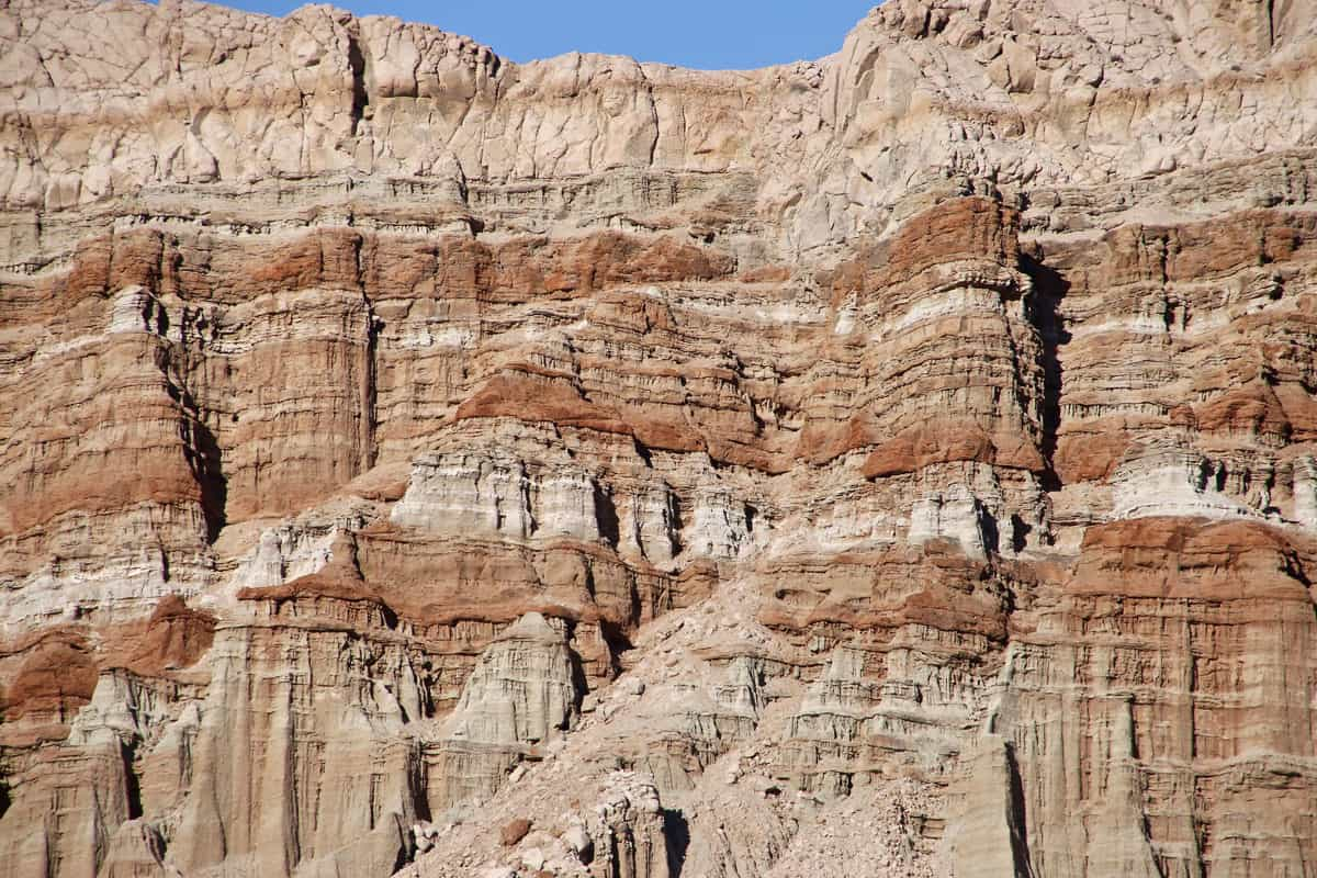 Visible layers of soil on the side of a mountain at the Red Rock Canyon State Park, California, Red Rock State Park, CA - A Visitor's Guide