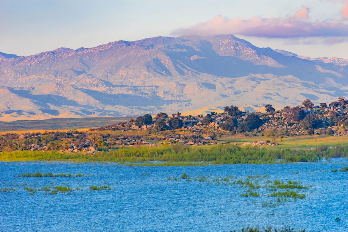 Blue lake and visible Palomar mountains