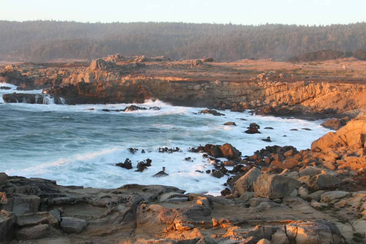 View of the rushing waves and the rocky terrain of Salt Point State, California