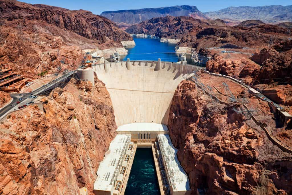 An aerial view of hoover dam