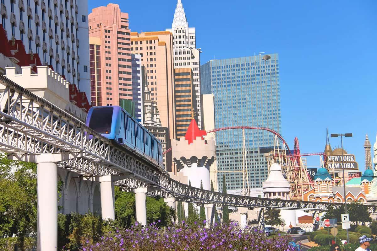 City landscape in Las Vegas, Nevada. 40 million tourists visited Las Vegas
