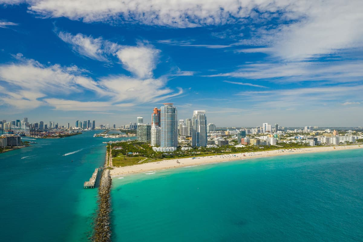 Drone aerial Miami Beach Florida