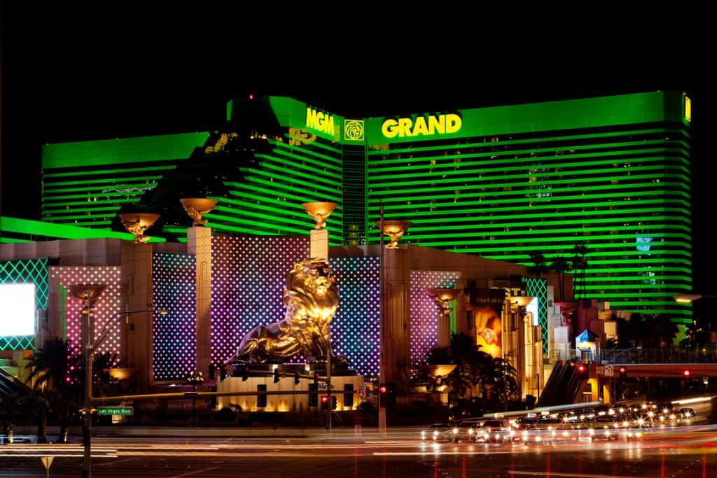 The MGM Grand photographed at night with all the tempting light glowing brightly