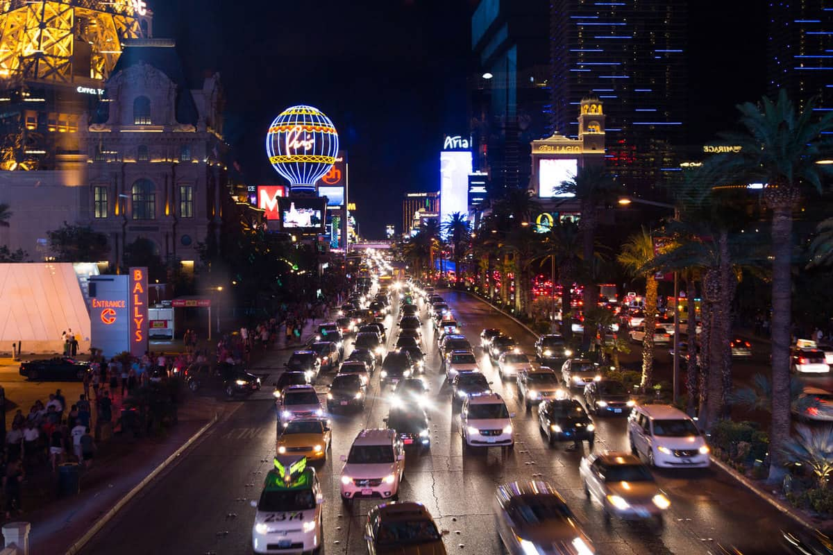 This is a Las Vegas Night Scene on a Friday evening