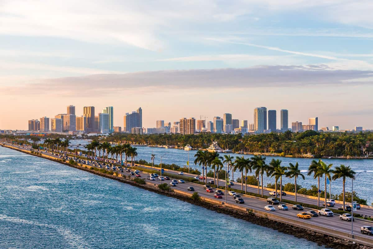 View of Biscayne Bay in Miami Florida
