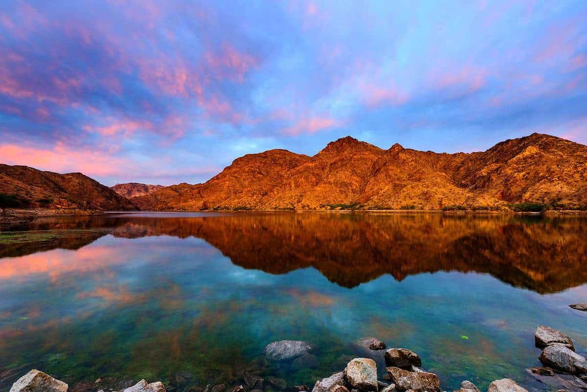 Epic sunrise at Colorado River near Las Vegas