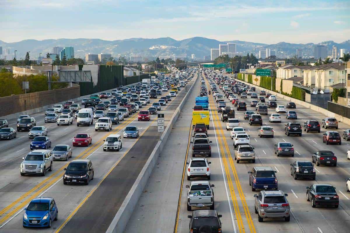 Friday traffic on the 405 freeway North Los Angeles California